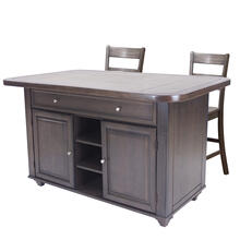 See Details - Kitchen Island Set - Antique Gray w/Gray Tile Top (3 Piece)