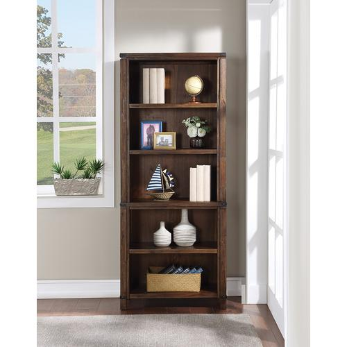 """Baton Rouge 72"""" Bookcase In Brushed Walnut Finish"""