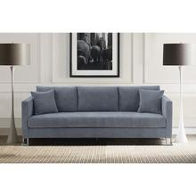 See Details - Heritage Gray Fabric Upholstered Sofa with Brushed Stainless Steel Legs