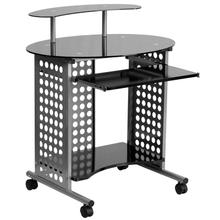See Details - Cassini Mobile Computer Desk with Black Glass Top
