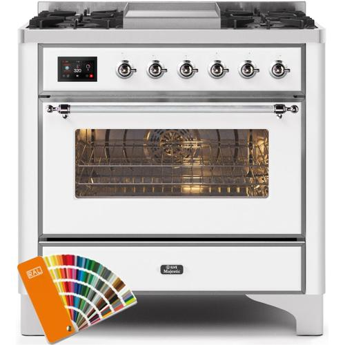 Ilve - Majestic II 36 Inch Dual Fuel Natural Gas Freestanding Range in Custom RAL Color with Chrome Trim