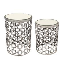 S/2 Metal Side Table W/ Bevelled Mirror, Silver