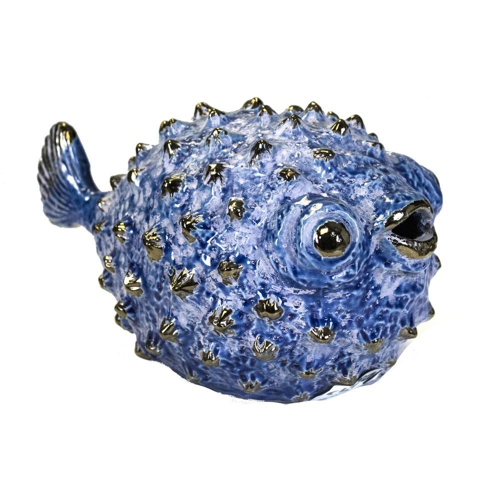 "See Details - Blue Ceramic Puffer Fish 10"""