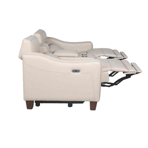 Giorno Dual-Power Leather Console Loveseat, Ivory