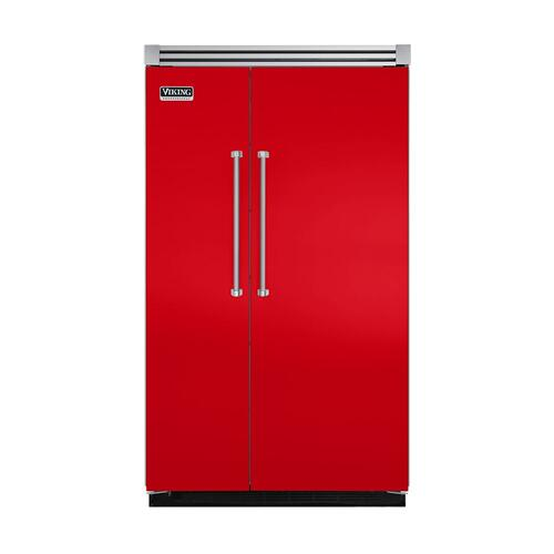 "Viking - Racing Red 48"" Quiet Cool™ Side-by-Side Refrigerator/Freezer - VISB Tru-Flush™ (48"" wide)"