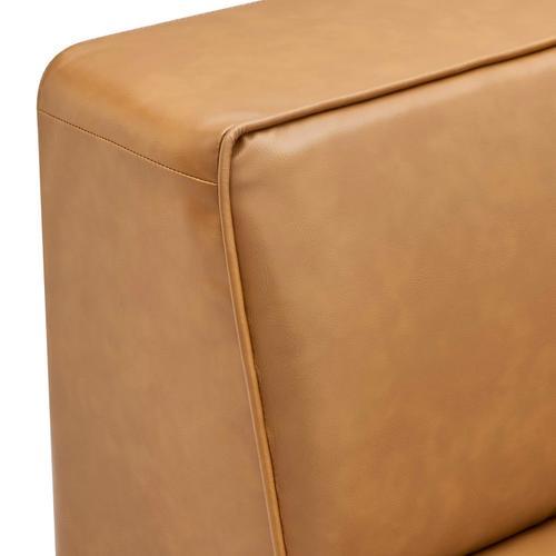 Mingle Vegan Leather Corner Chair in Tan