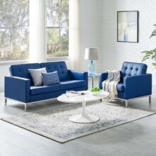 Loft Tufted Upholstered Faux Leather Loveseat and Armchair Set in Silver Navy