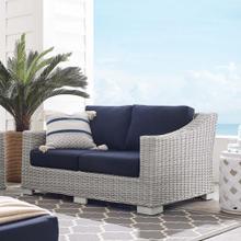 Conway Sunbrella® Outdoor Patio Wicker Rattan Loveseat in Light Gray Navy