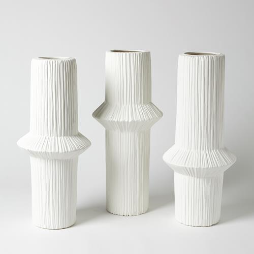 Ascending Ring Vase-Matte White-Low