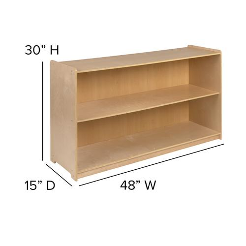 """Flash Furniture - Wooden 2 Section School Classroom Storage Cabinet for Commercial or Home Use - Safe, Kid Friendly Design - 30""""H x 48""""L (Natural)"""