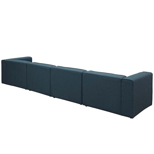 Modway - Mingle 4 Piece Upholstered Fabric Sectional Sofa Set in Blue