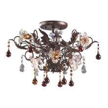 See Details - Cristallo Fiore 3-Light Semi Flush in Deep Rust with Clear and Amber Florets