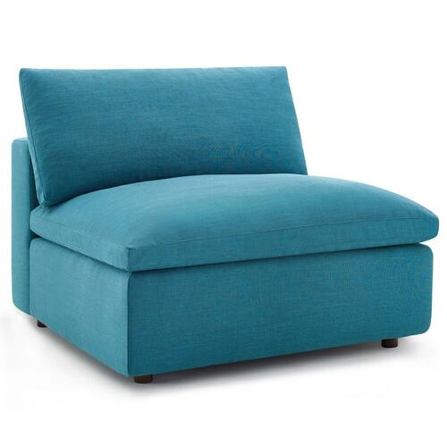 Commix Down Filled Overstuffed 5 Piece Sectional Sofa Set in Teal