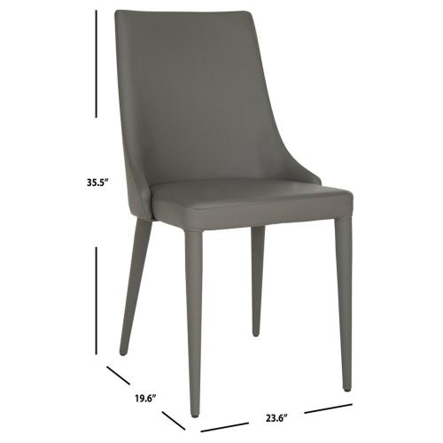 Summerset 19''h Leather Side Chair - Grey