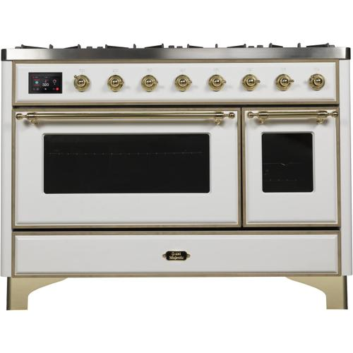 Gallery - Majestic II 48 Inch Dual Fuel Natural Gas Freestanding Range in White with Brass Trim