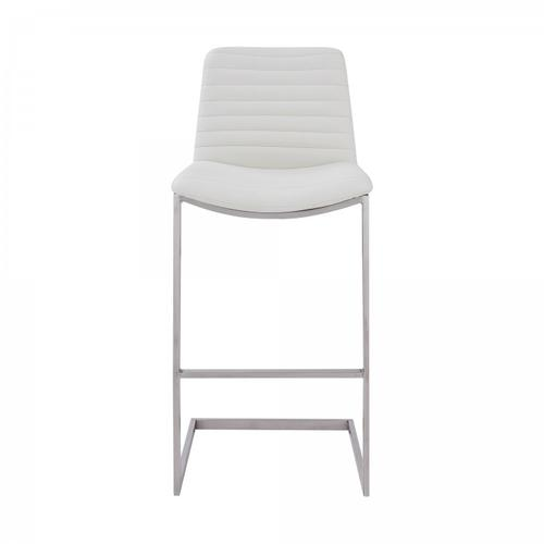 """Armen Living - Lucas Contemporary 26"""" Counter Height Barstool in Brushed Stainless Steel Finish and White Faux Leather"""