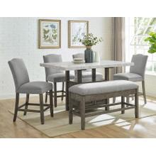 Grayson 6 Piece White Marble Top Counter Set(Counter Table, Counter Bench & 4 Counter Chairs)
