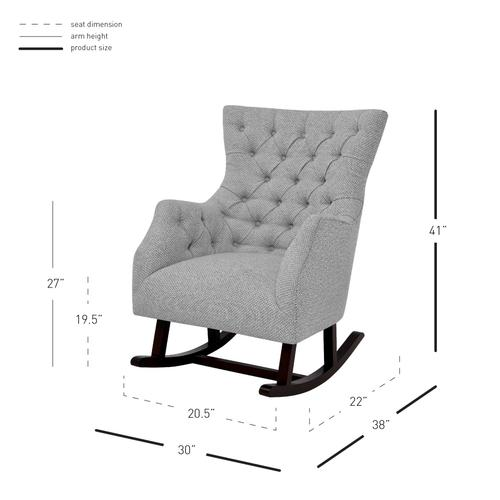Product Image - Abigail KD Fabric Tufted Rocking Accent Arm Chair, Cardiff Gray