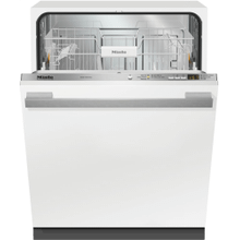 Fully-integrated, full-size dishwasher with hidden control panel, cutlery basket and custom panel and handle ready