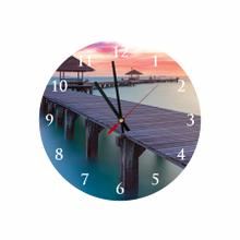 Beach Bridge Round Acrylic Wall Clock