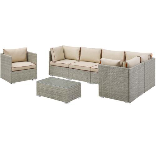 Repose 7 Piece Outdoor Patio Sectional Set in Light Gray Beige