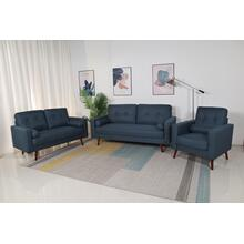 8135 3PC NAVY Linen Stationary Tufted Back Living Room SET