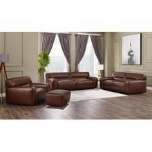 See Details - Milan Leather Living Room Set - Brown (4 Piece)