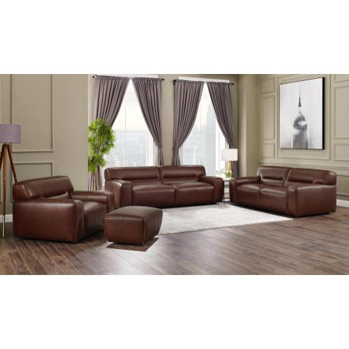 Sunset Trading - Milan Leather Ottoman - Brown