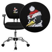 Youngstown State University Penguins Embroidered Black Mesh Task Chair with Arms and Chrome Base