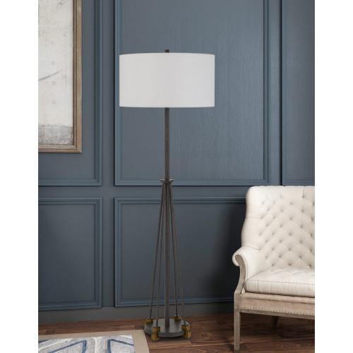 Bellewood Metal/Wood Floor Lamp With Fabric Drum Shade