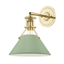 Wall Sconce - AGED BRASS/LEAF GREEN COMBO