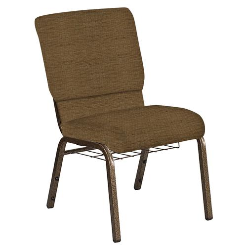 Flash Furniture - 18.5''W Church Chair in Highlands Chocolate Fabric with Book Rack - Gold Vein Frame