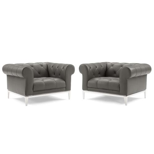 Modway - Idyll Tufted Upholstered Leather Armchair Set of 2 in Gray