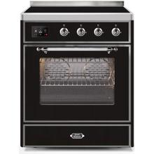 Majestic II 30 Inch Electric Freestanding Range in Glossy Black with Chrome Trim