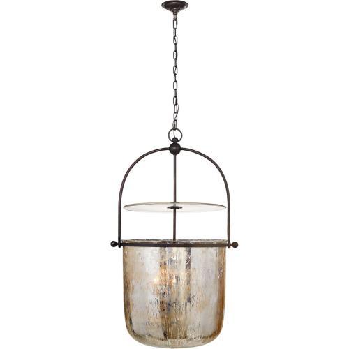 Visual Comfort CHC2271AI-MG E. F. Chapman Lorford 4 Light 25 inch Aged Iron Bell Lantern Ceiling Light, Large
