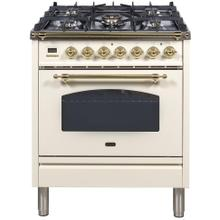 Nostalgie 30 Inch Dual Fuel Natural Gas Freestanding Range in Antique White with Brass Trim