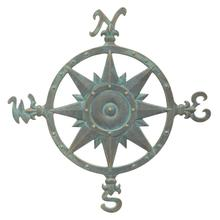 "23"" Compass Rose Wall Décor - Bronze Verdigris"