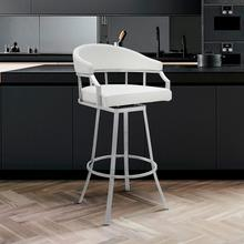 "Valerie 26"" Counter Height Swivel Barstool with Brushed Stainless Steel Finish and White Faux Leather"