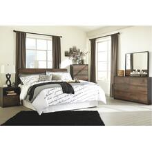 King Panel Headboard With Mirrored Dresser, Chest and 2 Nightstands