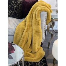 "Chinchilla Feel Faux Fur Throw - 50"" x 60"" / Honey Gold"