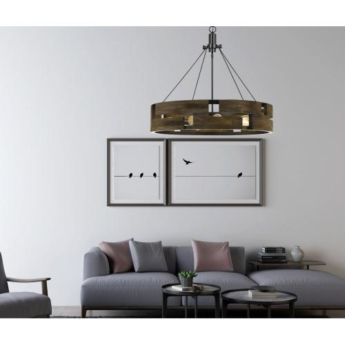 60W X 9 Bradford Metal And Wood Chandelier (Edison Bulbs Not included)