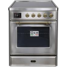 Majestic II 30 Inch Electric Freestanding Range in Stainless Steel with Brass Trim