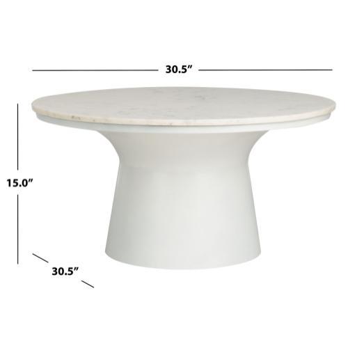 Safavieh - Mila Pedestal Coffee Table - White Marble / White