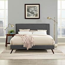 View Product - Amaris Queen Fabric Platform Bed with Round Splayed Legs in Gray