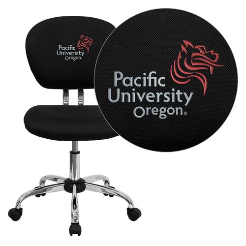 Pacific University Oregon Boxers Embroidered Black Mesh Task Chair with Chrome Base