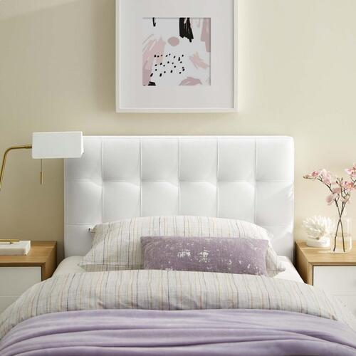 Modway - Lily Twin Upholstered Vinyl Headboard in White