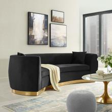 Resolute Curved Performance Velvet Sofa in Black