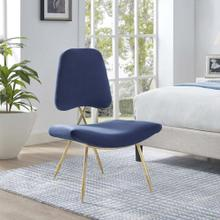 Ponder Performance Velvet Lounge Chair in Navy