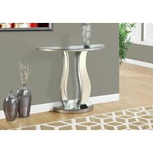 "ACCENT TABLE - 36""L / BRUSHED SILVER / MIRROR"