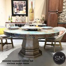 View Product - Best Oxidixed Copper Dining Table Imperishable w/ Vintage Sturdy Base -1203 D